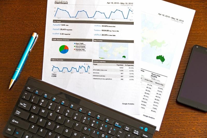 Keyboard with SEO metrics paper   digital audit   VIEWS Digital Marketing