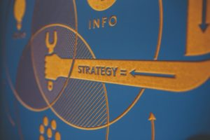 "Photo of wall with ""strategy"" written on it 